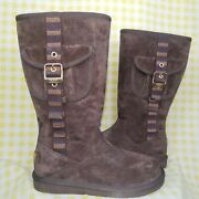 """Ugg """"1895 Retro"""" Cargo Tall Zip Sheepskin Boots Size 7 Brown New In Box No Top"""