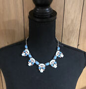 Charming Charlie Silver Tone Bib Necklace Blue And Pink Stones Rhinestones Jewelry