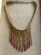 Anthropologie Boho Chic Metal Fiber Faceted Bead Bib Necklace Jewelry