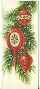 Vintage Christmas Red White Gold Ornaments Pine Tree Embossed Greeting Art Card