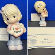 2015 Precious Moments I Love Dogs Girl Porcelain Bisque Figurine Puppy 154047