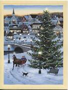 1 Christmas Country Store Tree Horse Sleigh Black Lab Dog Card 1 Tea Cups Card