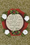 Antique Christmas Wreath Holly Berry Roses Sticker Lithograph Small Old Print