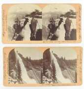 Antique 2 Stereoview Photos Cards Yosemite Valley Ca And Bridal Veil Falls 1897