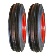 Two 4.00-12 Farmall And Oliver Tractor Pulling Front Tires And Wheels Rims Kit-n