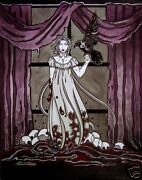 Gothic Lenore And Raven With Skulls Comic Fantasy Art 11x14