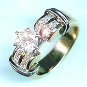 New 1.51ct Total Round 14k 2 Tone Engagement Ring Priced Below Cost