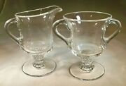 A.h. Heisey And Co. Plantation Crystal Footed Creamer And Sugar Bowl