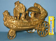 Price Cut Old Cast Iron Bell Toy, Landing Of Columbus All Orig On Sale Ci 420