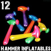 12 Neon Hammer Tool Inflatables Blow Up Pool Party Fun Kids Toy Game Favors