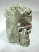 Butw Iron Pyrite Carved Skull Lapidary Sculpture 6720b Dl