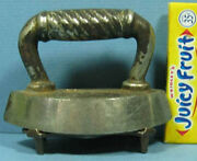 Very Old Toy Iron With Orig Trivet Beatuiful Pair 3 1/2 Long T87