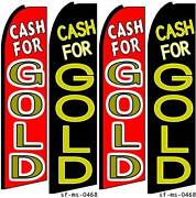 Cash For Gold Four 4 Swooper Feather Flag Banner Sign Kits With Hardware