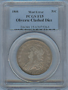 1808 Bust Half Pcgs Certified United States Mint Error Obverse Clashed Dies