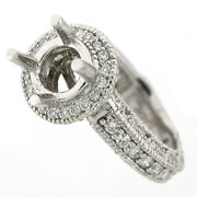14k Antique Style 1.24 Cts Diamond Halo Engagement Ring Setting Si1-g - 7 Mm