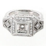 14k Antique Reproduction Semi Mount Engraved Diamond Ring Setting 0.45 Cts