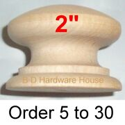 2 British Style Wood Cabinet Knob Pulls / Drawer Knobs - Select Option 5 To 30