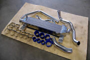79-93 For Ford Mustang Aluminum Intercooler + Piping Kit Twin Turbo Bolt On 5.0
