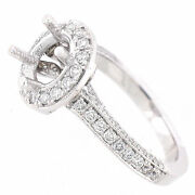 Solid 14k White Gold Semi Mount Diamond Halo Ring Setting 0.98 Cts - Pave Shank