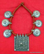 Vintage Antique Tribal Old Silver Disk Pendant Necklace Gypsy Jewelry