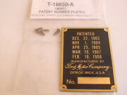 Ford Model T Brass Patent Number Vin Id Plate 1909-1911