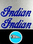 Blue Indian Mini Mm5a M5a Gas Tank Decal And Mag Cover Decal Set 50 Cc Late Model