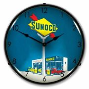 New Sunoco Gas Retro Advertising Backlit Lighted Clock - Free Shipping