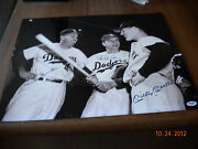 Mickey Mantle Pee Wee Reese Duke Snider Signed 16 X 20 Photo Psa / Dna