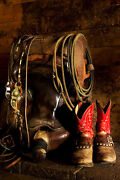 In The Barn By Robert Dawson Canvas Giclee Cowboy Gear Saddle Rope Boots And Spurs