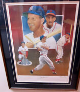 Framed Stan Musial Autographed Limited Edition Lithograph By Christopher Paluso