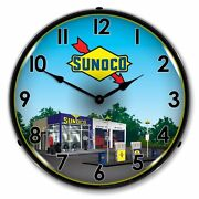 New Sunoco Station 2 Retro Advertising Led Lighted Clock - Free Shipping