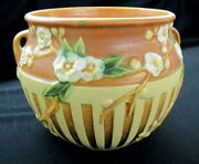 ROSEVILLE BROWN CHERRY BLOSSOM VASE 627-6 IN VERY GOOD CONDITION