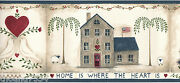 Home Is Where The Heart Is Love Country Dove Birdhouse Blue Wall Paper Border