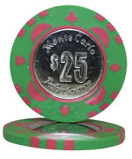 50pcs Monte Carlo Coin Inlay Poker Chips 25