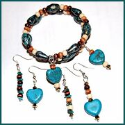 Artisan Crafted Turquoise And Wood Earrings A24 - Fast Usa Shipping