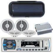 Pyle In-dash Radio Stereo Mp3 Player For Your Boat 4 Speakers 400w Amp + Cover