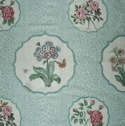 Nina Campell Bagatelle Floral Cotton Chintz Blue England Remnant New
