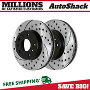 Front Drilled Slotted Disc Brake Rotors Pair 2 For Chevy Impala Buick Lucerne V6