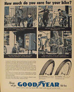 1958 Goodyear Bike Tires Wing Foot Bicycle Air Pump Gas Station Winter Art Ad