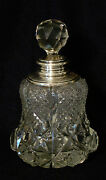 Brilliant Period Cut Glass Cologne Bottle With Sterling Silver Hall Marks