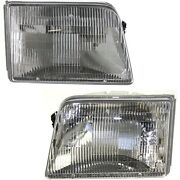 Headlights Headlamps Left And Right Pair Set For 93-97 Ford Ranger Pickup Truck