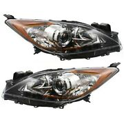 Halogen Headlight Set Left And Right For 2010 2011 2012 2013 Mazda 3