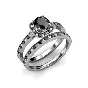 Black And White Diamond Bridal Set Ring 2.05 Ct Tw In 14k And 18k Gold