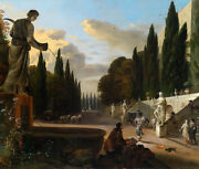 Oil Painting The Painter Painting In Garden Landscape With Sculptures Carriage