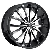 Vct V63 22 Inch Black Machine Wheel Rims And Tires Fit Chevy Cadillac Gmc Armada
