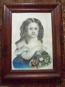 C.1800and039s Sweet 19th Century American Folk Art Portrait Print Hand Color Painting