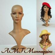Female Mannequin Head+stand Shown Realistic Life Size Plastic -fd2+2 Long Wigs