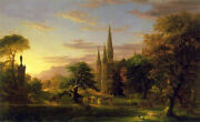 Oil Painting Thomas Cole - The Return Sunset Landscape And Huge Building Churches