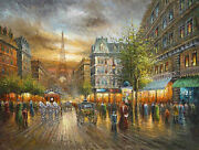 Beautiful Oil Painting Paris Street Scene With Carriage Driving On A Busy Street