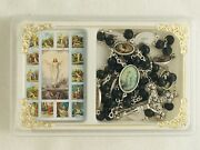 Black Wood Bead Stations Of The Cross Chaplet Rosary W/ Color Images Box And Instr